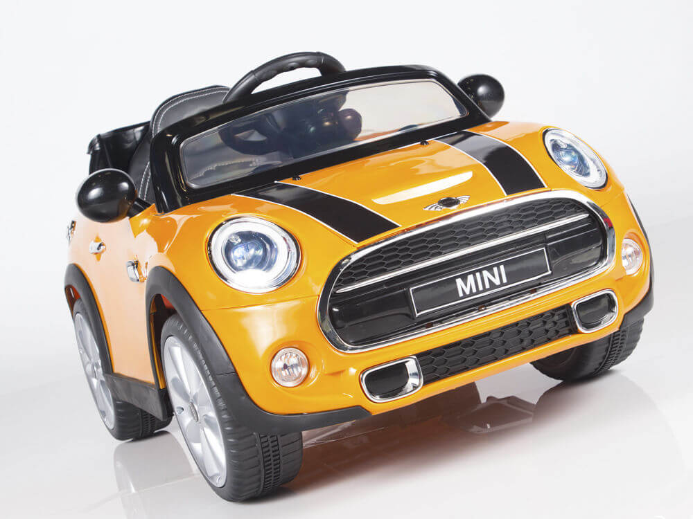 Kids Official Upgraded 12v Mini Cooper Ride On Car Yellow