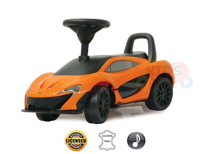 Officially Licensed McLaren P1 Push Car for Toddlers, Leather Seat, Music – Orange