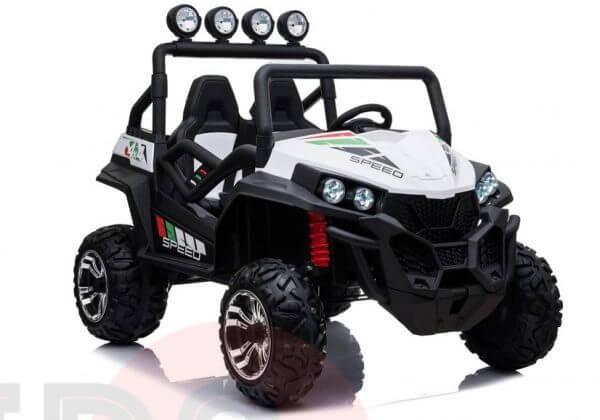 kidsvip 2 seater ride on utv buggy 2x12v rubber wheels toddlers kids white 20