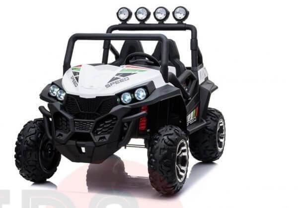 kidsvip 2 seater ride on utv buggy 2x12v rubber wheels toddlers kids white 22