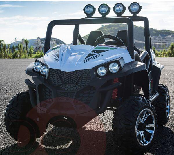 kidsvip 2 seater ride on utv buggy 2x12v rubber wheels toddlers kids white 29