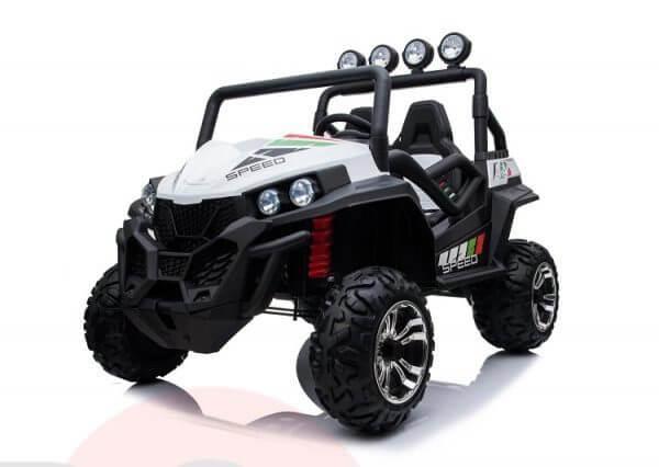 kidsvip 2 seater ride on utv buggy 2x12v rubber wheels toddlers kids white 3 1