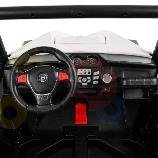 kidsvip 2 seater ride on utv buggy 2x12v rubber wheels toddlers kids white 36 1