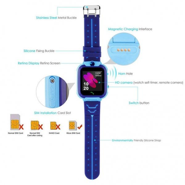 kids vip kids smart watch waterproof gps sos 12