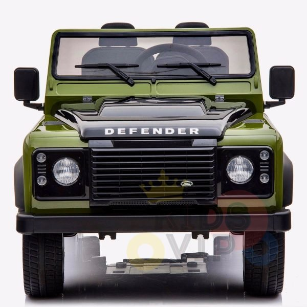 land rover defender kids toddlers ride on car truck rubber wheels leather seat kidsvip green 1
