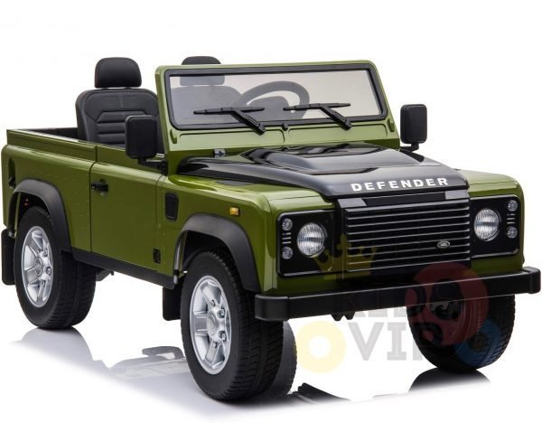 land rover defender kids toddlers ride on car truck rubber wheels leather seat kidsvip green 3