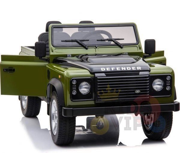 land rover defender kids toddlers ride on car truck rubber wheels leather seat kidsvip green 4