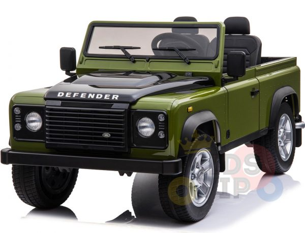 land rover defender kids toddlers ride on car truck rubber wheels leather seat kidsvip green 5