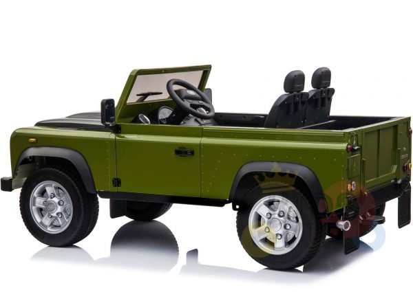 land rover defender kids toddlers ride on car truck rubber wheels leather seat kidsvip green 7