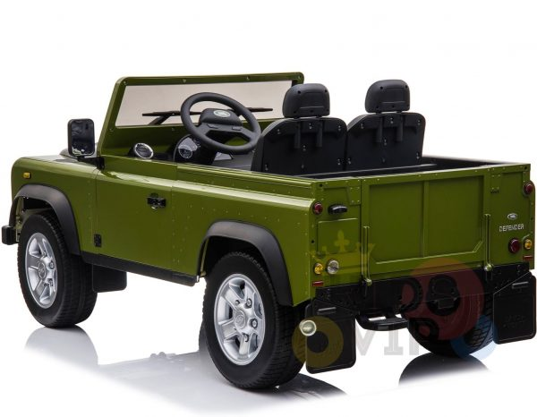 land rover defender kids toddlers ride on car truck rubber wheels leather seat kidsvip green 8