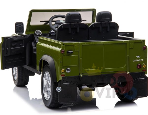 land rover defender kids toddlers ride on car truck rubber wheels leather seat kidsvip green 9