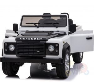 land rover defender kids toddlers ride on car truck rubber wheels leather seat kidsvip white 2