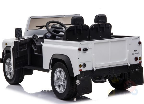 land rover defender kids toddlers ride on car truck rubber wheels leather seat kidsvip white 4