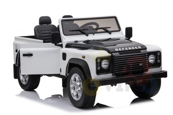 land rover defender kids toddlers ride on car truck rubber wheels leather seat kidsvip white 6