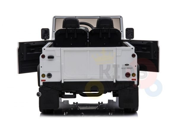 land rover defender kids toddlers ride on car truck rubber wheels leather seat kidsvip white 8