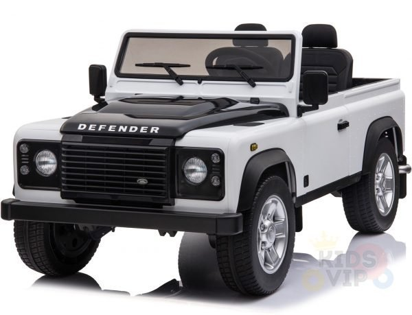 land rover defender kids toddlers ride on car truck rubber wheels leather seat kidsvip white 9