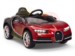 BUGATTI Kids toddlers ride car 12v rubber wheels rc leather seat remote control sport car super red paint 1