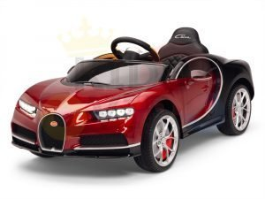 BUGATTI Kids toddlers ride car 12v rubber wheels rc leather seat remote control sport car super red paint 13