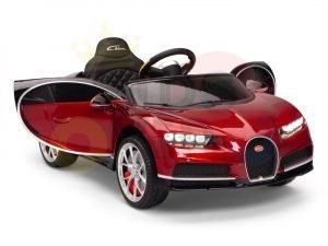 BUGATTI Kids toddlers ride car 12v rubber wheels rc leather seat remote control sport car super red paint 19