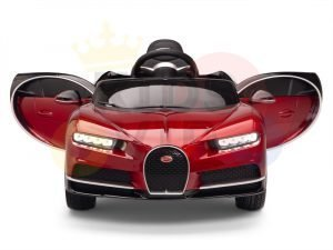 BUGATTI Kids toddlers ride car 12v rubber wheels rc leather seat remote control sport car super red paint 2