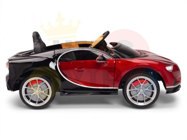 BUGATTI Kids toddlers ride car 12v rubber wheels rc leather seat remote control sport car super red paint 4