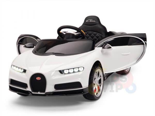 BUGATTI Kids toddlers ride car 12v rubber wheels rc leather seat remote control sport car super white 13