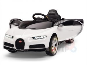 BUGATTI Kids toddlers ride car 12v rubber wheels rc leather seat remote control sport car super white 18