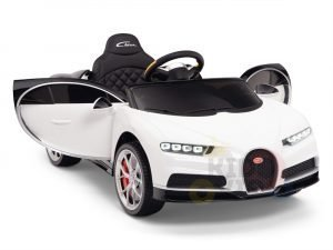 BUGATTI Kids toddlers ride car 12v rubber wheels rc leather seat remote control sport car super white 2
