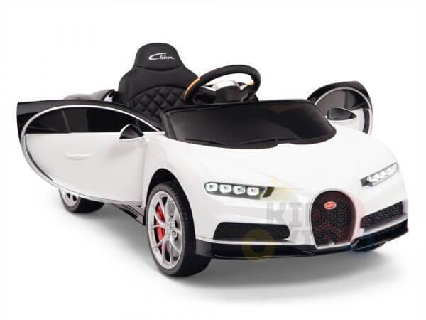 BUGATTI Kids toddlers ride car 12v rubber wheels rc leather seat remote control sport car super white 2