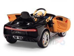BUGATTI Kids toddlers ride car 12v rubber wheels rc leather seat remote control sport car super white 21