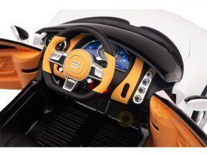 BUGATTI Kids toddlers ride car 12v rubber wheels rc leather seat remote control sport car super white 23