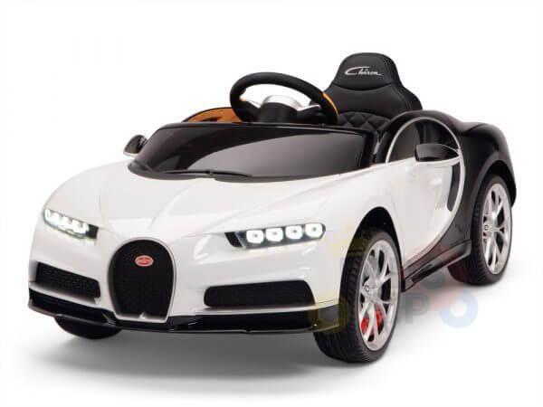 BUGATTI Kids toddlers ride car 12v rubber wheels rc leather seat remote control sport car super white 31