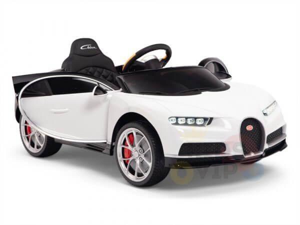 BUGATTI Kids toddlers ride car 12v rubber wheels rc leather seat remote control sport car super white 36