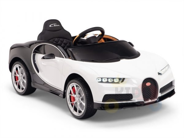 BUGATTI Kids toddlers ride car 12v rubber wheels rc leather seat remote control sport car super white 5