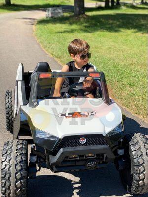 kidsvip 2 seater ride on utv dune 24v rubber wheels toddlers kids white 1