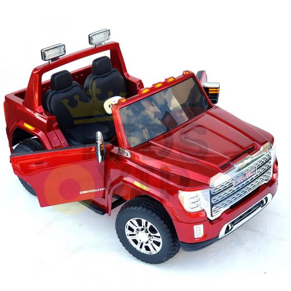 kidsvip gmc sierra kids ride on car 12v rubber wheels leather seat 2 seater red white black blue pink 17 1