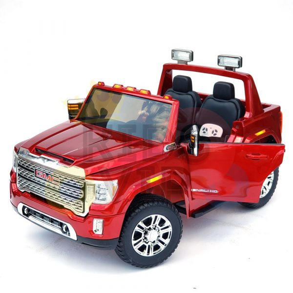 kidsvip gmc sierra kids ride on car 12v rubber wheels leather seat 2 seater red white black blue pink 47