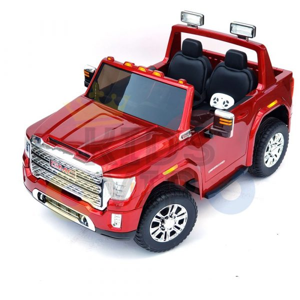 kidsvip gmc sierra kids ride on car 12v rubber wheels leather seat 2 seater red white black blue pink 54