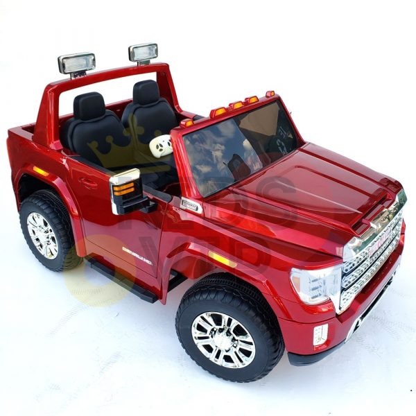kidsvip gmc sierra kids ride on car 12v rubber wheels leather seat 2 seater red white black blue pink 8