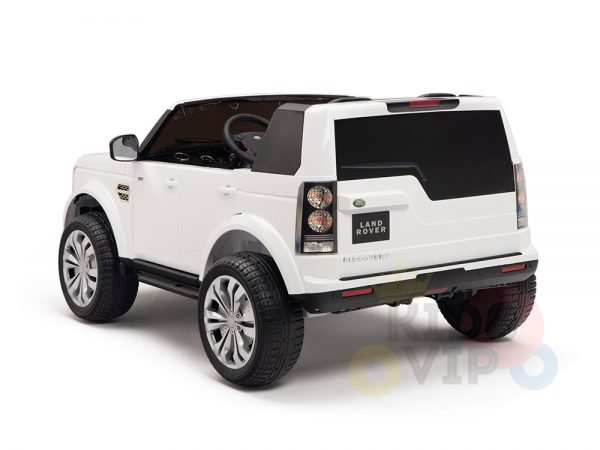 land rover discovery 2 seater kids toddlers ride na track car 12v rubber wheels leather rc white 12