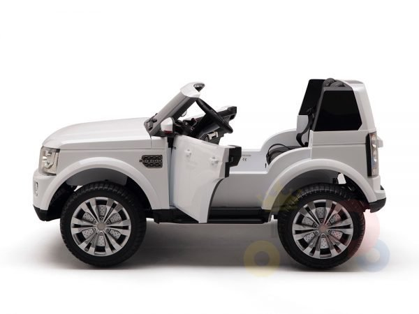land rover discovery 2 seater kids toddlers ride na track car 12v rubber wheels leather rc white 14