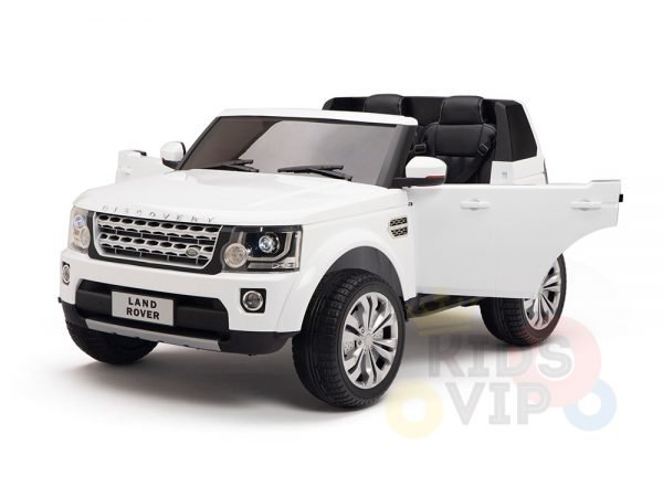 land rover discovery 2 seater kids toddlers ride na track car 12v rubber wheels leather rc white 15