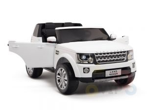 land rover discovery 2 seater kids toddlers ride na track car 12v rubber wheels leather rc white 2