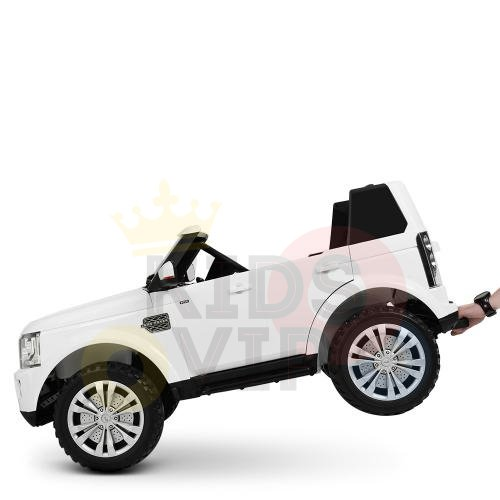 land rover discovery 2 seater kids toddlers ride na track car 12v rubber wheels leather rc white 24