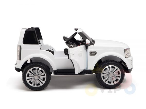 land rover discovery 2 seater kids toddlers ride na track car 12v rubber wheels leather rc white 3