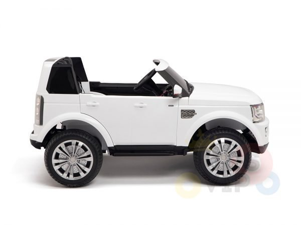 land rover discovery 2 seater kids toddlers ride na track car 12v rubber wheels leather rc white 4