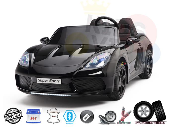 2 Seater Big Kids Supercar XXL 24V, 180W Brushless Motor, Rubber Wheels, Leather Seat