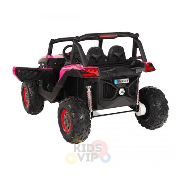 kidsvip 2 seater ride on utv sport 24v rubber wheels toddlers kids pink 10