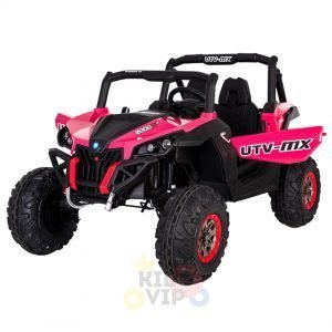 kidsvip 2 seater ride on utv sport 24v rubber wheels toddlers kids pink 3
