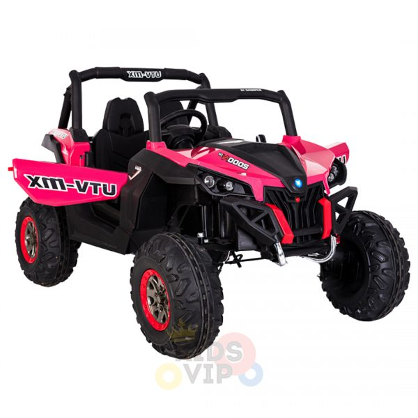 kidsvip 2 seater ride on utv sport 24v rubber wheels toddlers kids pink 4